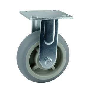 "5"" Inch Caster Wheel 507 pounds Fixed Polypropylene core  and  Thermoplastic Rubber Top Plate"
