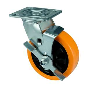 "5"" Inch Caster Wheel 507 pounds Side brake Polyurethane Top Plate"