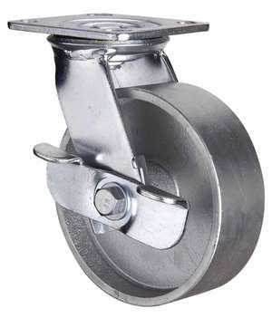 "5"" Inch Caster Wheel 617 pounds Swivel and Center Brake Cast Iron Top Plate"