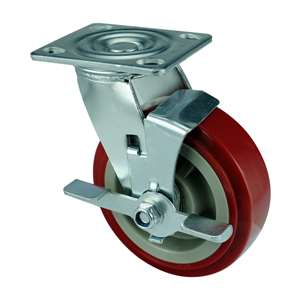"6"" Inch Caster Wheel 617 pounds Side brake Polyurethane Top Plate"