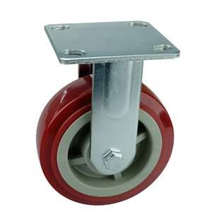 "6"" Inch Caster Wheel 617 pounds Fixed Polyurethane Top Plate"
