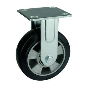 "6"" Inch Caster Wheel 551 pounds Fixed Aluminum core  and  Rubber Top Plate"