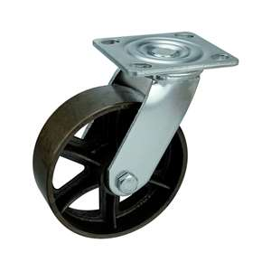 "6"" Inch Caster Wheel 617 pounds Swivel Black Cast iron Top Plate"
