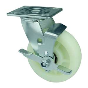 "6"" Inch Caster Wheel 661 pounds Swivel and Center Brake co-polypropylene Top Plate"