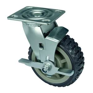 "6"" Inch Caster Wheel 617 pounds Swivel and Center Brake Polypropylene core  and  Polyurethane Top Plate"