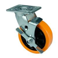 "8"" Inch Caster Wheel 661 pounds Side brake Polyurethane Top Plate"