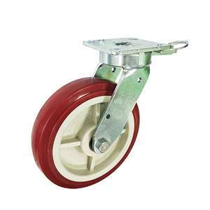 "4"" Inch Caster Wheel 661 pounds Swivel and Upper Brake Cast Iron and  Polyurethane Top Plate"