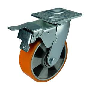"6"" Inch Caster Wheel 1102 pounds Swivel and Upper Brake Aluminium  and  Polyurethane Top Plate"