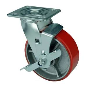 "6"" Inch Caster Wheel 992 pounds Swivel and Center Brake Cast Iron and  Polyurethane Top Plate"