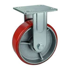 "6"" Inch Caster Wheel 992 pounds Fixed Cast Iron and  Polyurethane Top Plate"