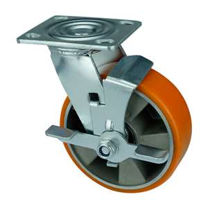 "8"" Inch Caster Wheel 1543 pounds Swivel and Center Brake Aluminium  and  Polyurethane Top Plate"
