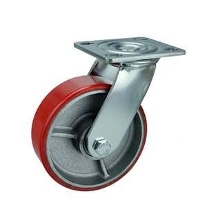 "8"" Inch Caster Wheel 1190 pounds Swivel Cast Iron and  Polyurethane Top Plate"