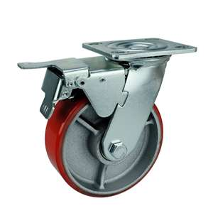 "8"" Inch Caster Wheel 1190 pounds Swivel and Upper Brake Cast Iron and  Polyurethane Top Plate"