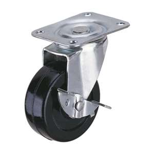 40mm Caster Wheel 44 pounds Swivel and Center Brake Rubber Top Plate