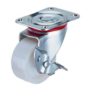 40mm Caster Wheel 44 pounds Swivel and Center Brake Plastic Top Plate