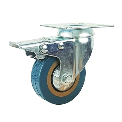 "2"" Inch Caster Wheel 44 pounds Swivel and Upper Brake Polyvinyl Chloride Top Plate"