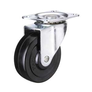 "5"" Inch Caster Wheel 132 pounds Swivel and Upper Brake Polyvinyl Chloride Top Plate"