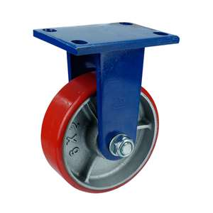 "8"" Inch Caster Wheel 1543 pounds Fixed Cast iron polyurethane Top Plate"