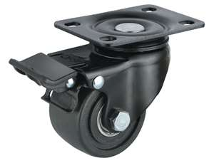 "3"" Inch Caster Wheel 441 pounds Swivel and Upper Brake Nylon Top Plate"