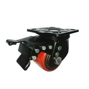 "3"" Inch Caster Wheel 1102 pounds Swivel and Upper Brake Polyurethane  and Iron Top Plate"