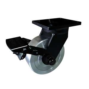 "6"" Inch Caster Wheel 3307 pounds Swivel and Upper Brake Cast iron polyurethane Top Plate"