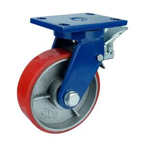 "8"" Inch Caster Wheel 3307 pounds Swivel and Upper Brake Cast iron polyurethane Top Plate"