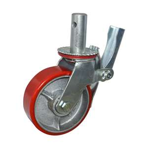 "6"" Inch Scaffold Caster Wheel 441 pounds Swivel and Upper Brake Polyurethane rim and  and PU"
