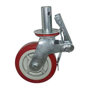 "6"" Inch Scaffold Caster Wheel 441 pounds Swivel and Upper Brake Polypropylene rim and  and  Polyvinyl Chloride"