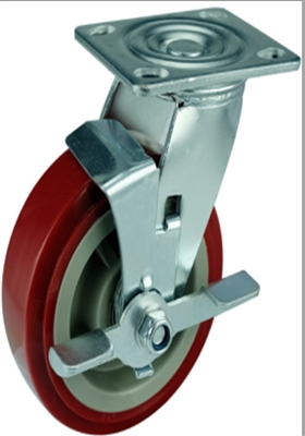 "6"" Inch Caster Wheel 617 pounds Swivel Stainless steel fork  and  Polyurethane Top Plate"