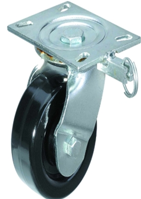 "6"" Inch Caster Wheel 882 pounds Swivel and Center Brake Phenolic and 0-180ºC Top Plate"