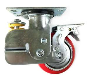 "5"" Inch spring loaded Caster Wheel 617 pounds Swivel and Upper Brake Polyurethane  and  Cast iron core Top Plate"