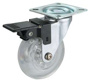 "3"" Inch Caster Wheel 88 pounds Swivel and Upper Brake Polyurethane Top Plate"