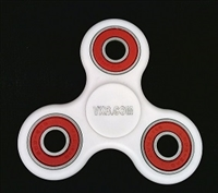 White Fidget Hand Spinners Toy with Center Stainless Bearing, 2 caps and 3 outer red Bearings