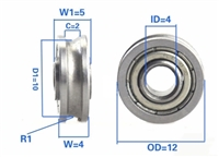 4x12x4/5mm U Groove Track Roller Bearing with inner ring extended width of 5mm