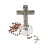 Metal Crucifix On Base, Wooden Rosary
