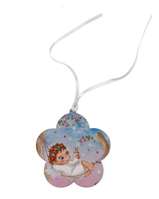 Angel in Hammock Baby Crib Medal With Ribbon