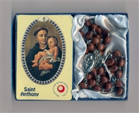 ST ANTHONY Relic Rosary & Relic Prayer Card