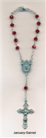 Genuine Crystal Auto Rosary with Miraculous Medal Center - Garnet