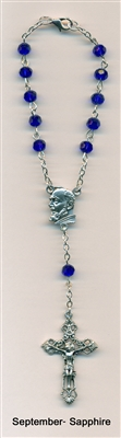 Genuine Crystal Auto Rosary with St Pio Center - Sapphire