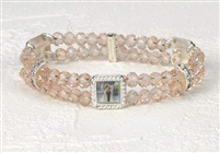 Genuine Crystal Double Stand Bracelets-St.Therese(Rose Pink)