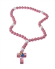 Large Wood Children's Rosary of Mary with Jesus - Pink