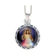 Divine Mercy Silver medal and chain