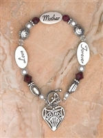 Silver Plated Glass Bracelet - Mother