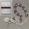 March Glass Birthstone Rosary Bracelet 7.5""