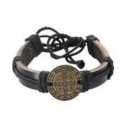 St Benedict Brown Leather Bracelet