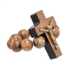 Wooden Elastic Ring Walnut with crucifix
