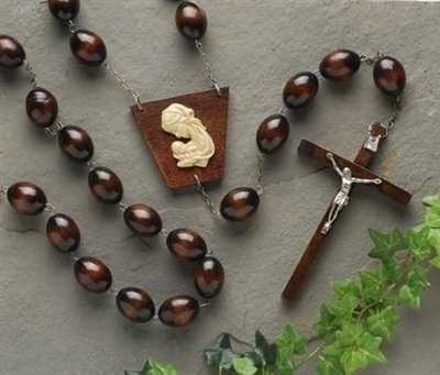 Brown Wood Wall Rosary 60""