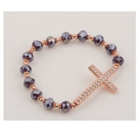 Copper Purple Crystal Cross Stretch Bracelet
