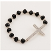 Silver Black Crystal Cross Stretch Bracelet