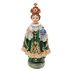 Infant of Prague Green Statue Resin